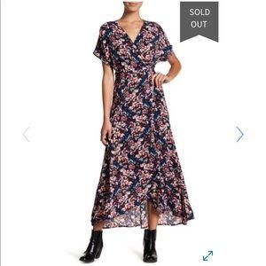 NWOT Bobeau Navy Floral Maxi True Wrap Dress XS